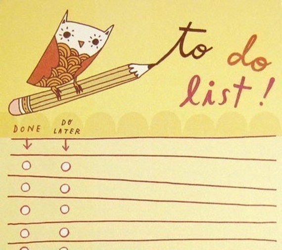 Owl LIST pad (to do list notepad) by boygirlparty, yellow owl note pad task chore office organizer checklist - ecofriendly office gift