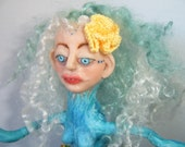 OOAK Clay and Crochet Art Doll Lady of the Sea - knotbygranma