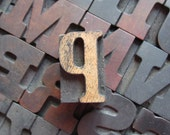 Antique Letterpress Wood Type Printers Block Letter P - PreserveCottage