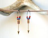 Golden arrow earrings, oxidized sterling silver hoops, brass arrows, antique white heart trade beads, cupid's arrow, Valentine's Day - BlackStar