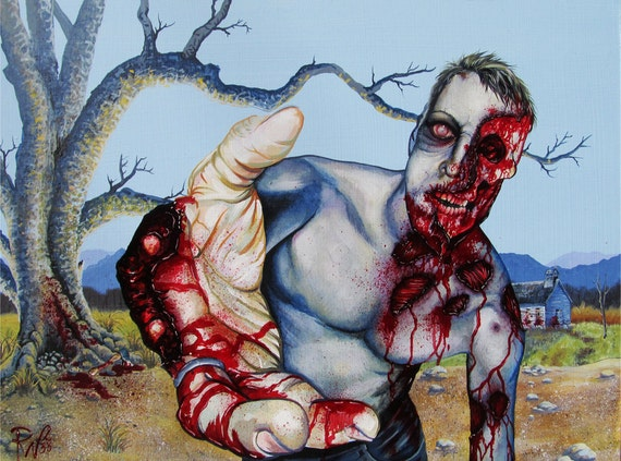 RW2 Original Oil Painting ZOMBIE End of the World 2012 zombies blue Environmental Surrealism red bloody green