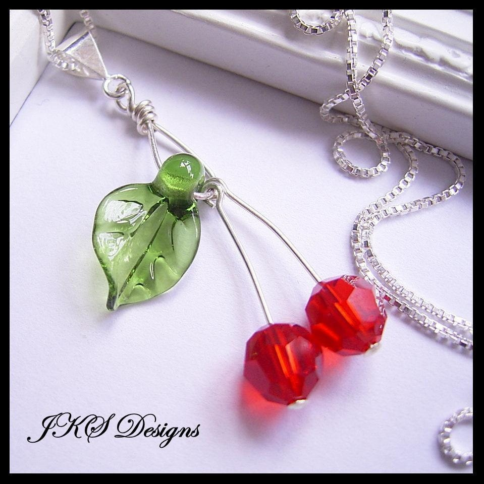Cherry Necklace on Cherry Necklace  Red Cherry Pendant  Fruit Necklace  Rockabilly