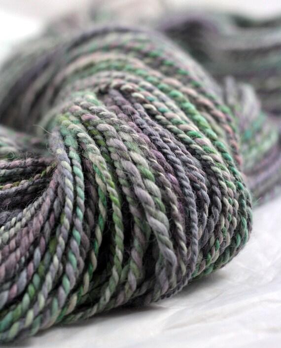 Hazy - hand painted, hand spun 2ply Alpaca/merino/silk Yarn- Free Shipping