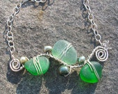 Sea Glass Swirls Necklace in Shades of Green