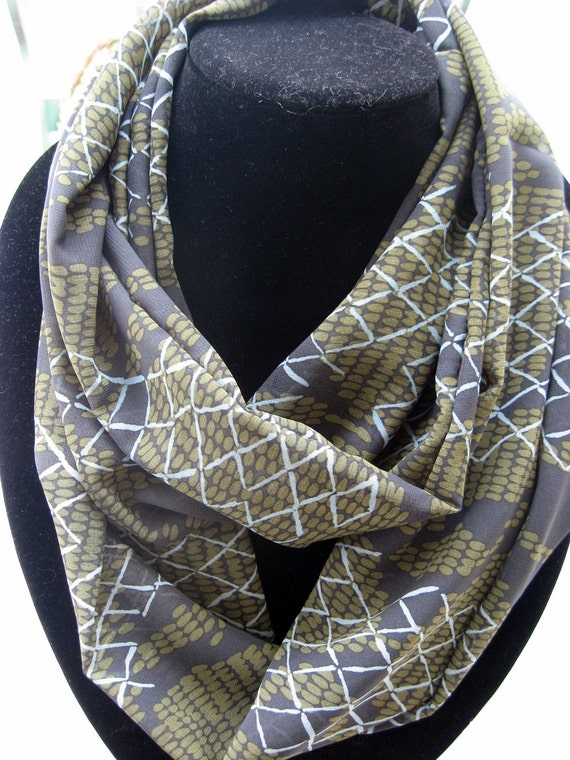 Infinity Circle double loop Scarf print sheer  classic