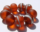 9 Amber and Copper Green Lines and Dots Etched Lampwork Beads SRAf34 - ferrarioriginalbeads