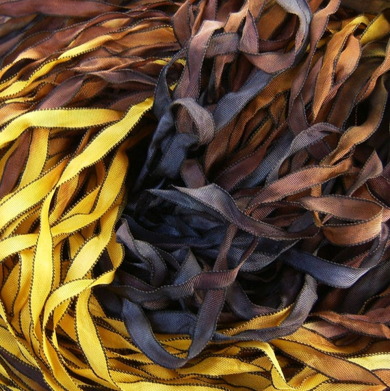 Hand Dyed Ribbon Meadowlark curly black edge 5 Yards