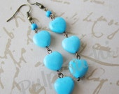 Turquoise Heart Dangle Earrings - Light Blue - Beach Beauty - Gifts Under 15.00 - pulpsushi