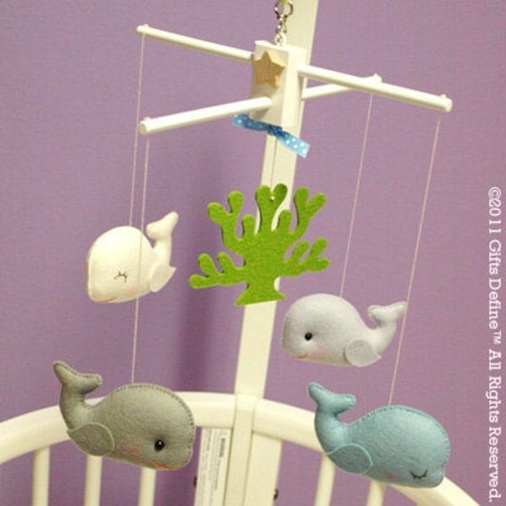 WHALES TALE Baby Mobile (Artist Choice Colors) - for Modern Nursery Decor, Baby Crib, or Playroom