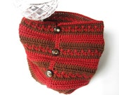 Fashion Crochet Neckwarmer Cowl  - Chocolate Brown and Cranberry Red - OOAK