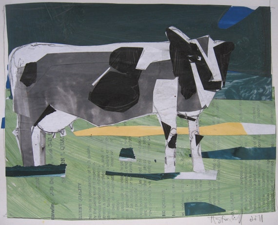Cow in Summer, Original Collage on Paper, Canada