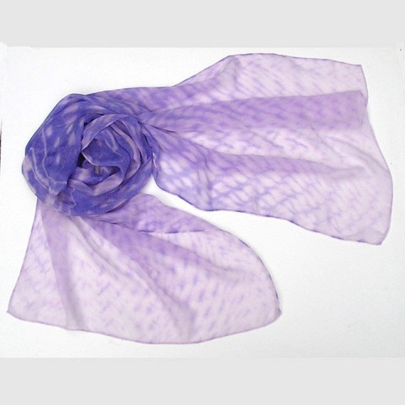 Sweet Lilac Lavender Shawl Wrap, with Pink Rose Accents, Hand Dyed Shibori, JOSSIANI.
