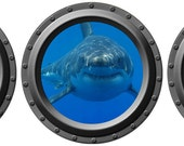Triple Threat Shark Porthole Decal Set - WilsonGraphics