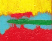 Contemporary Abstract Art Painting - Are You Listening 4 x 4 inches
