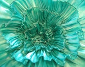 Aqua Pleated Flower Pin - lovealittle