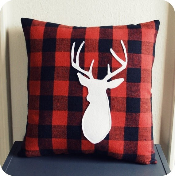 Deer Pillow on Red and Black Gingham Fabric