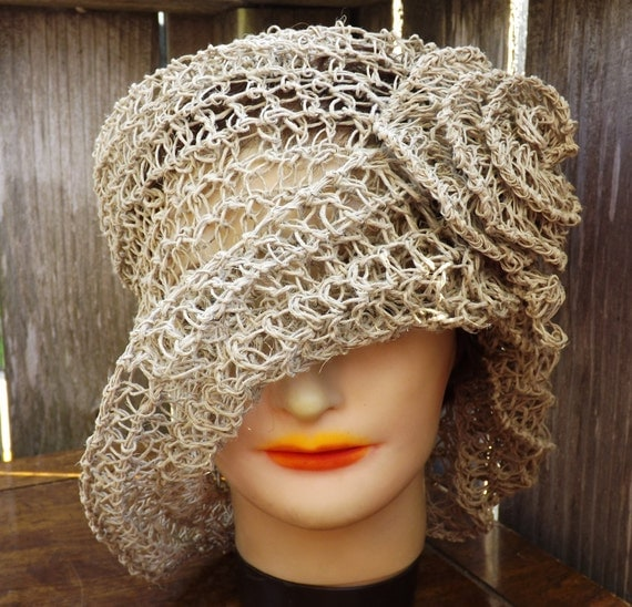 Crochet Hat Women Hat - OMBRETTA Straw Hat, Womens Crochet Cloche Hat with Flower Natural Hemp - Crochet Womens Hat - Mad Hatter Hat