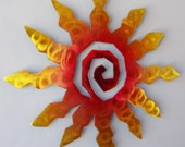 Sun Burst Spiral Metal Wall Art, Sunset Swirl Finish with Red, Yellow and Blue Accents, 3XL 42 Inch - ChrisCrooks