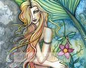 Mermaid Fairy Fine Art Print by Molly Harrison Original Watercolor Fantasy Art - MollyHarrisonArt