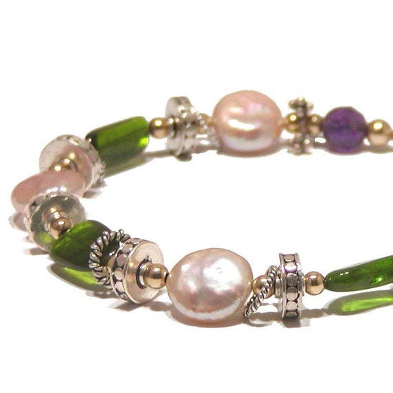Chrome Diopside Bracelet with Coin Pearls, Amethyst and Silver