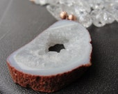Summer White Rock Crystal Raw Geode Copper Necklace
