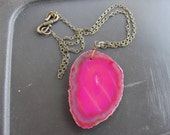 Fuchsia Pink Awareness Agate Druzy Brass Chain Necklace