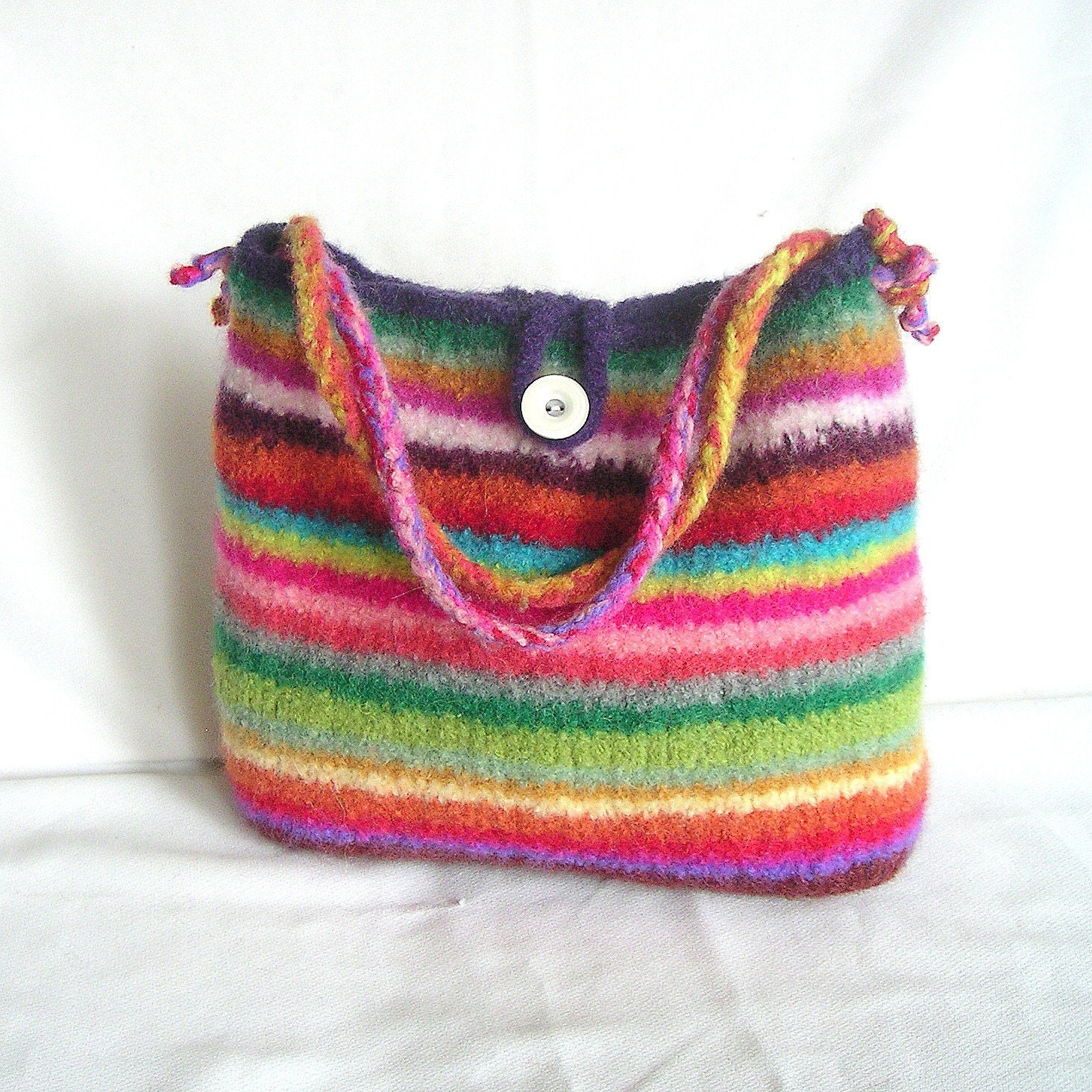 Knitting Pattern Felted Bag : Items similar to Easy Knit Bag Pattern Tutorial pdf, Rainbow Felted Bag Knitt...