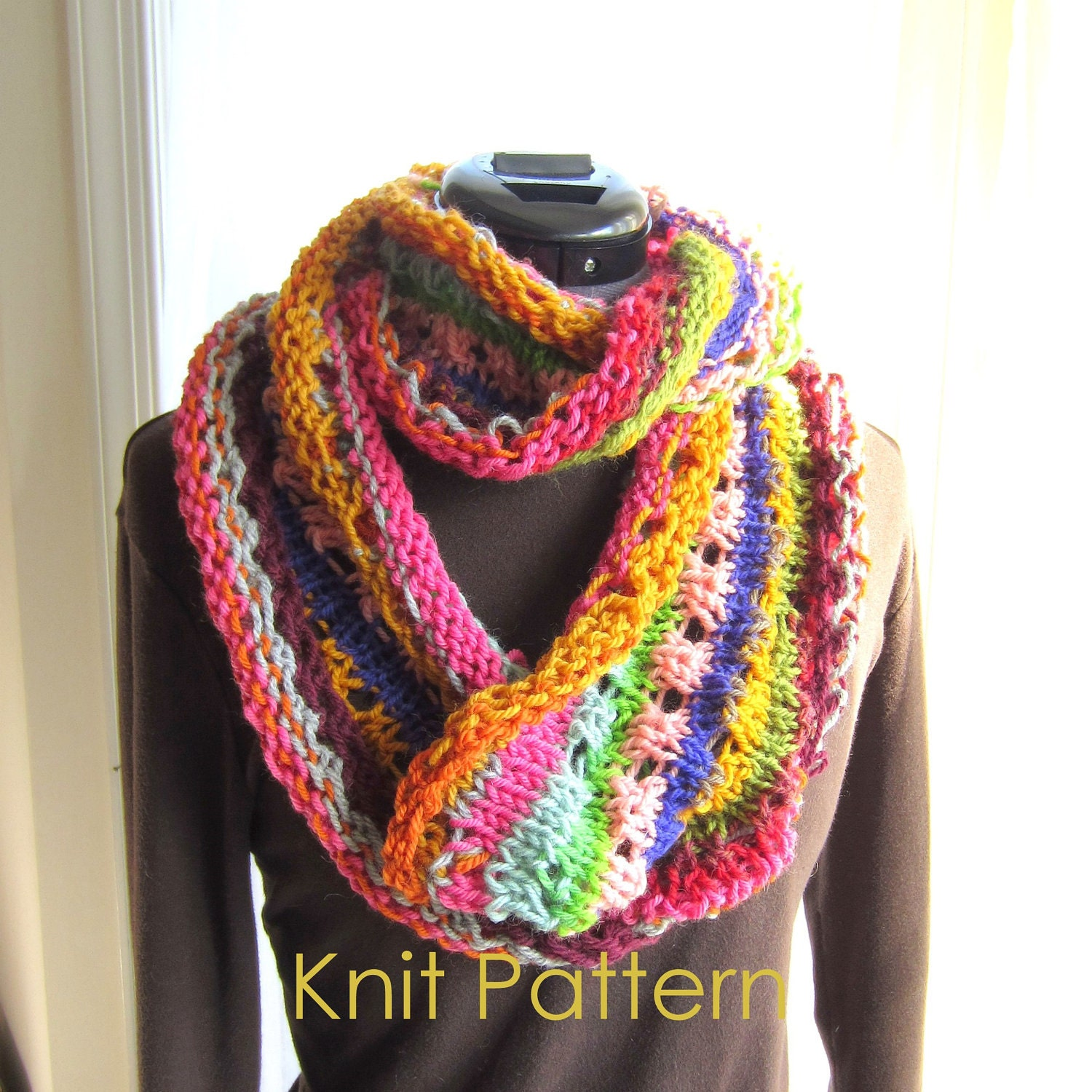 Fairisle Knitting Patterns : Knit Scarf Pattern pdf Rainbow Infinity Scarf Knitting by GraceG2