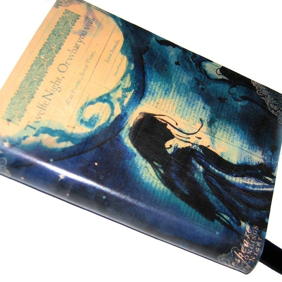 12th Night Journal - blue moonlight Shakespeare Leatherbound Blank Book