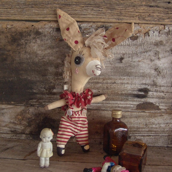 Billy, whimsical donkey, cloth doll, primitive, art doll