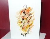 Original Hand Painted Funky Woman Art Card - Blank Inside