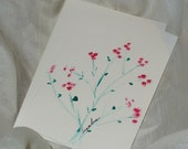 Hand Painted Flowers Greeting Card