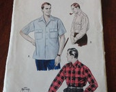 Vintage 50s Butterick Men's Long or Short Sleeve Converttible Collared Button Down Shirt Pattern sz Large 16- 16.5 Neck UNCUT - glamourstitch