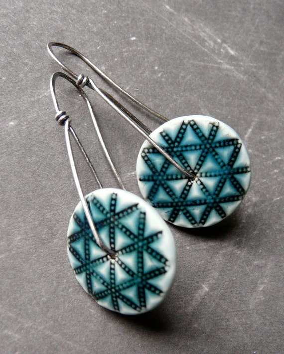 Porcelain Earrings - Quilted Star Longs in Antique Teal