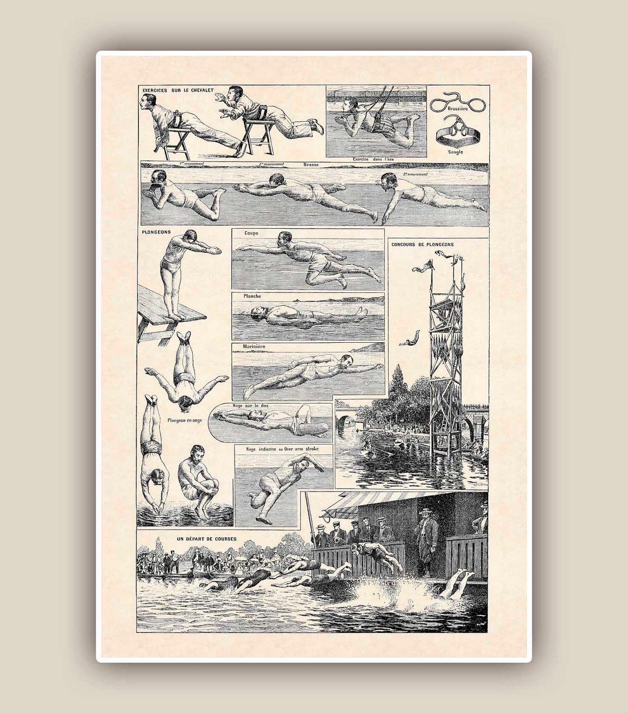 Retro swimming Print Vintage 'Natation' image Seaside by AlgaNet
