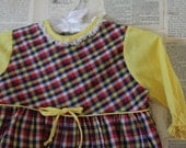 Vintage Baby Dress - Retro Red Yellow Navy Gingham Girls Dress - Girls Clothing Clothes - 1st Birthday Outfit - AudreyBlissful