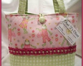 Pink Fashion Frogs with Green Check Medium Diaper Bag / Tote Bag for Etsykids - aunttscloset