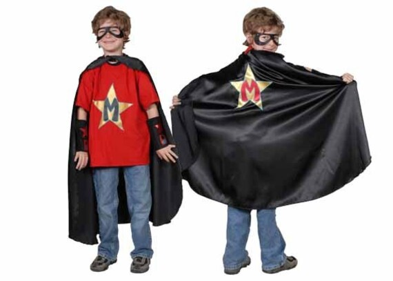 Kids Superhero Costume With Custom Superhero Cape, Blaster Cuffs and Mask