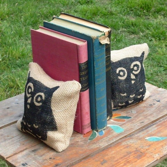 Owl -- Petit  Burlap Feed Sack Pillow Pair - Unique paper weight, bookends, pin cushion, etc