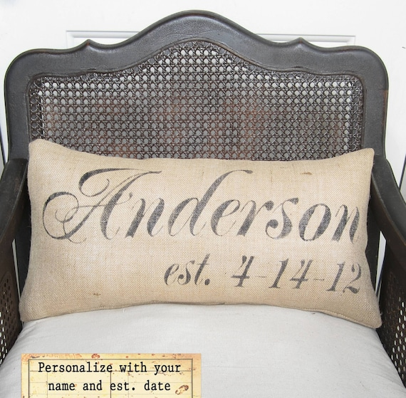 Personalized Name and Est Date Pillow -  Burlap Pillow Lumbar Style