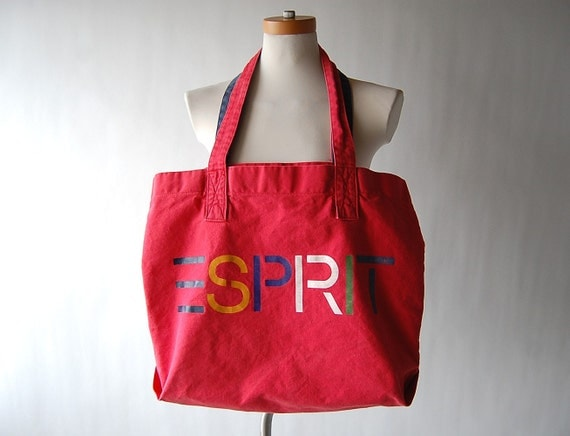 Large vintage Red Cotton ESPRIT Tote Bag . Canvas . Multi Colored Lettering 80s