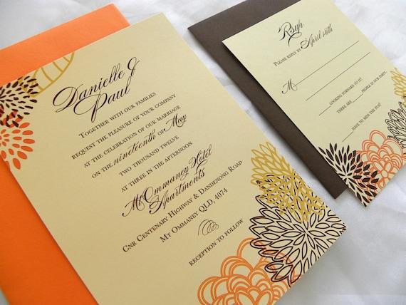 Modern Floral Wedding Invitation in fall colors - Brown, Orange & Cornflour Yellow