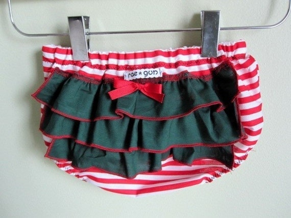 Christmas Candy Cane - ruffle diaper covers - bloomers - girl - baby - toddler