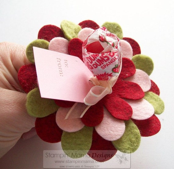 KIT - Felt Flower Valentines - set of 12