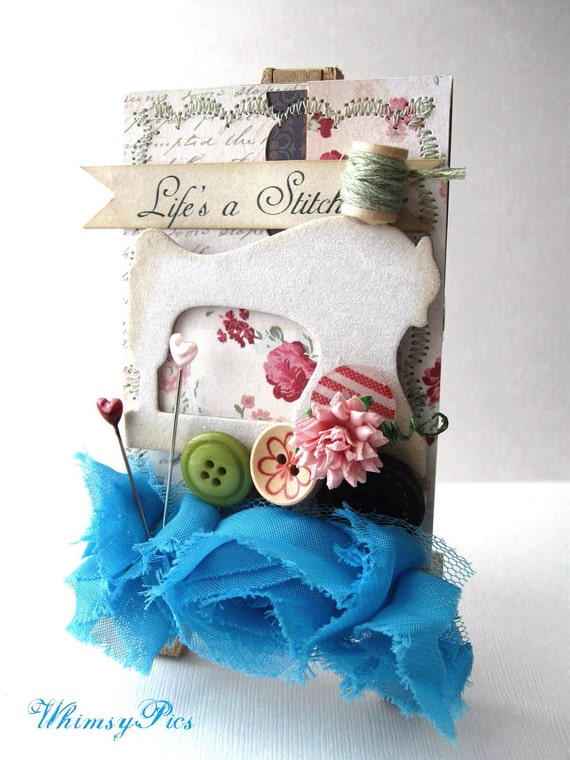 Vintage Inspired ACEO OOAK One of a Kind Life's a Stitch Mini Art Easel