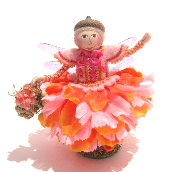 Flower Fairy Art Doll, Hand Embroidered
