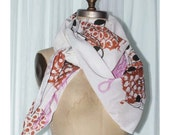 Light Weight White Woven Handprinted Fancy Scarf