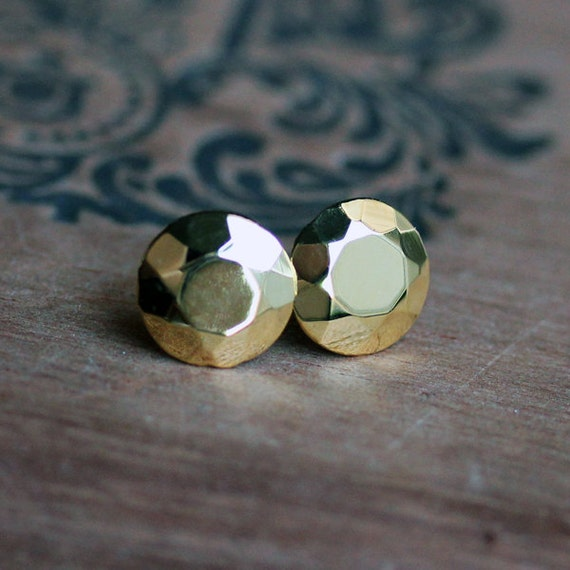 Faceted gold stud earring -14k yellow gold plated - diamond like studs - recycled sterling silver -Modern Rock Brilliant Studs