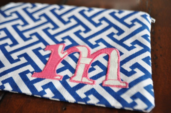 Personalized Bubblegum Pink and Blue Zipper Pouch