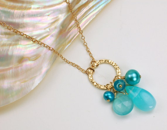 Peruvian Opal, Chalcedony, Apatite and Pearl Charm Necklace